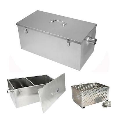 25LB Stainless Steel Grease Trap Interceptor for Restaurant Kitchen 61x31x27cm