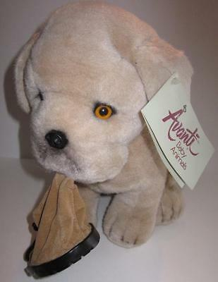 Vintage Avanti 1986 Bull Dog Puppy  Italy Plush Animal With Boot Chiavetta NWT
