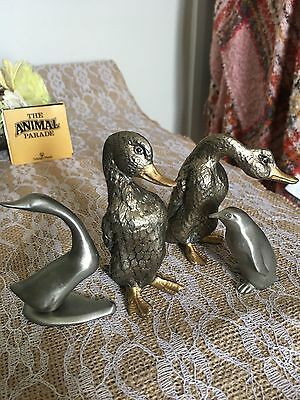 Selangor Pewter figurines of Penguin and Duck / Geese incl 2 other ducks/geese