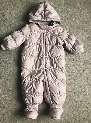 Baby Gap Winter Feather Snowsuit Rose Pink Size 12-18m