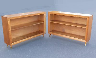 Pair Vintage Danish Mid Century Modern Style Two Shelf Peg Leg BOOKCASES
