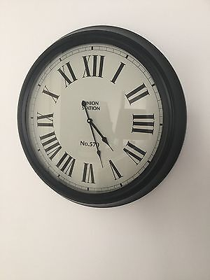 Black Metal Large Wall Clock Roman Numerals French Hamptons