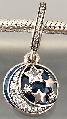 S925 Sterling Silver Night Sky Hanging Charm + Pandora Polishing Cloth