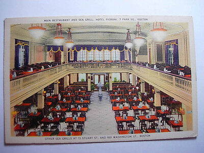 1941 Linen PIERONI HOTEL RESTAURANT Boston Massachusetts MA Postcard y7618