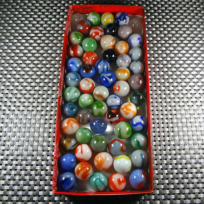 Vintage Glass lot of 58 Alley, Ravenswood swirl marbles Nm