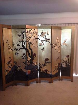 HAND PAINTED 6 Panel Oriental style room divider/privacy screen W- 2400cm, H -18