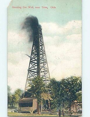 Chipped Divided-Back OIL WELL GUSHER Tulsa Oklahoma OK HM6572