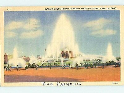 Damaged Linen BUCKINGHAM FOUNTAIN Chicago Illinois IL hk7247