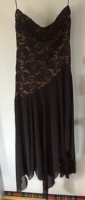 Black Lace Strapless Cocktail Dress Size 14