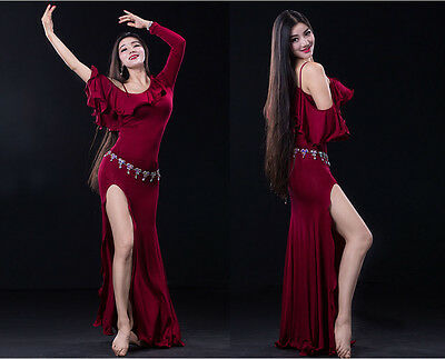 NEW Women 2016 Belly Dance Costumes Practice Club Stage Long Dress Modal M L