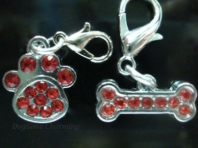 RED Dog Paw & Bone Dangle Set of 2 Bling charms Fits bracelets & chains