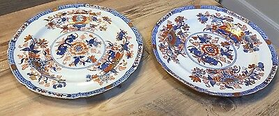 "2 Antique Spode Stone China Printed, Painted & Gilded 9.5"" Plate 2053 C.1813-22"