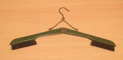 Travel Wooden Folding Green Coat Hanger Clothes Brush Vintage Retro VGC