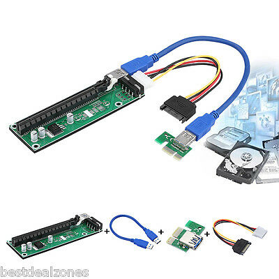 USB 3.0 Express 1x to16x Extender Riser Board Card Adapter SATA Power Cable UK