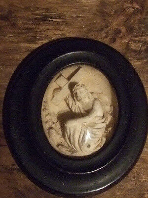 Antique French framed reliquary carved Block Meerschaum Jesus with cross
