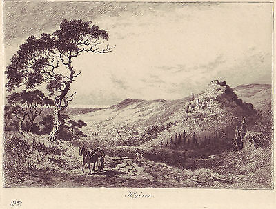 Original Etching -  View of Hyeres,French Riviera 1894  by ALEXANDER  ANSTED