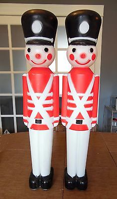 """2 Vintage Union TOY SOLDIERS 30"""" H Blow Mold Outdoor Lighted Christmas Display"""