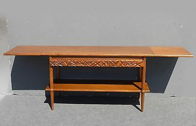 Vintage DANISH Mid Century Console TABLE Drop Leaf Side Table by HENREDON