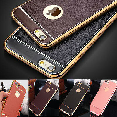 iPhone 6S 7 Plus Case for Apple -Genuine Leather Ultra-Thin Slim TPU Phone Cover
