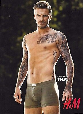 David Beckham 2013 H&M Boxer Briefs Underwear Magazine Ad Shirtless