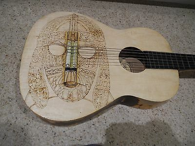sutton hoo king & anglo saxon pictures pyrographed 3/4 size guitar