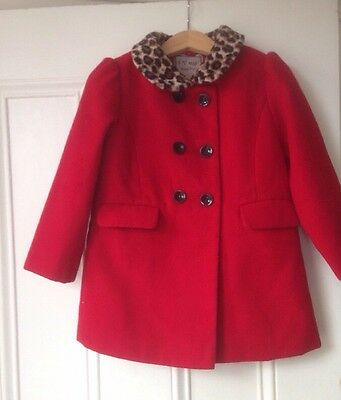 Girls Red Coat From Next Age 2-3 Years Vgc