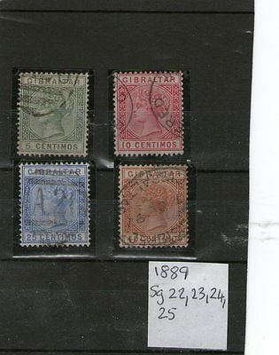 Gibraltar Used Stamps Queen Victoria Sg 22,23,24,25