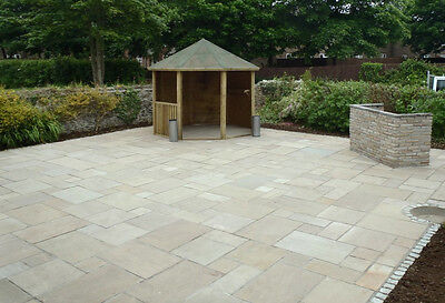 Calibrated 22mm Indian Sandstone Paving Patio slabs. RAJ GREEN mixed sizes