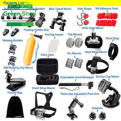 NEW Accessories Kit for GoPro Hero 5 4 3+ 3 2 1 Black Silver Sports Camera