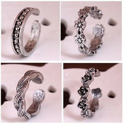 Punk Rose Adjustable Toe Opening Finger Ring Sliver Plated Toe Foot Beach [A3F]
