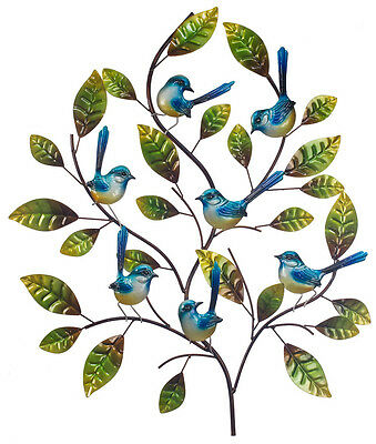 Blue Wren Tree Metal Wall Art Bird Green Hanging Sculpture Home Garden BIG 73cm