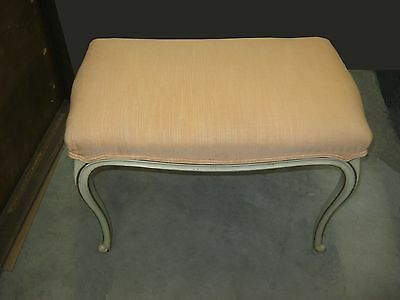 Vintage Drexel Heritage French Provincial Style Off White BENCH w Coral Fabric