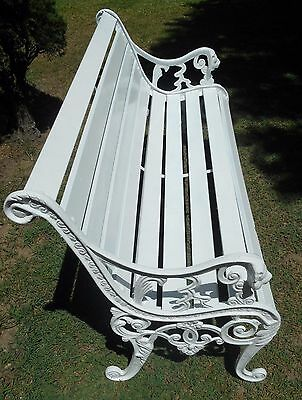 Vintage 1950's Cast Iron Garden Bench with Lion Heads in White, Hamptons style!