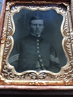 Original Antique Civil War Soldier Daguerreotype Union Case Military Photograph
