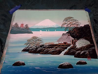 Vintage/Antique 1900-1940's Japanes Hand Painted Watercolors on Silk Scroll