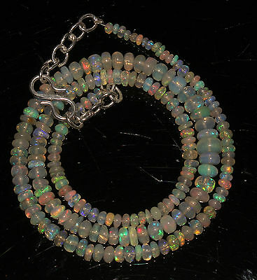 """38 Carat 16"""" 2 to 5.5 mm Natural Ethiopian Welo Fire Opal Beads Necklace -96664"""