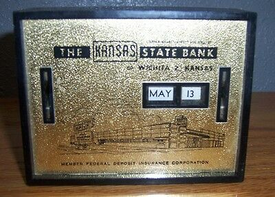 """Vintage 1960's """"THE KANSAS STATE BANK"""" WICHITA ALL COIN CALENDER BANK (341)"""