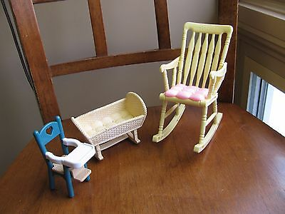 FURNITURE MATTEL BARBIE DOLL Rocking Chair Fisher Price Cradle High Chair LOT