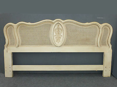 Vintage FRENCH Provincial COUNTRY COTTAGE Cane King White HEADBOARD