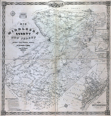1850 Map of Middlesex County New Jersey New Brunswick LARGE 40 x 42