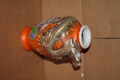 Antique Japanese Satsuma Porcelain Dragon Vase