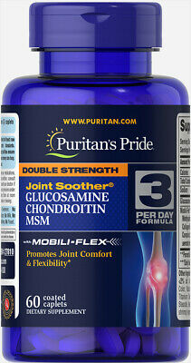 Puritans Pride Double Strength Glucosamine Chondroitin MSM Joint Soother 60 Caps