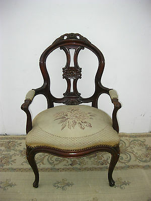 Vintage French Provincial Accent ARM CHAIR Tapestry Upholstery Ornate Carved
