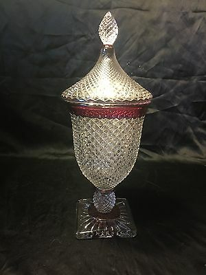 "Rare Vintage Westmoreland Ruby 9"" Pedestal Candy Dish w/ Lid English Hobnail"