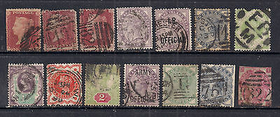 GB 1856 - 01 QV Selection of 14 stamps in various conditions ( 234 )