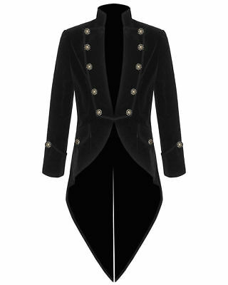 Men's VELVET VLADIMIR Steampunk Tailcoat Jacket Goth Victorian/Black