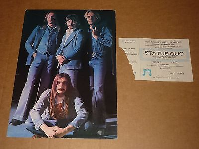 """Status Quo """"Blue For You"""" 1976 UK Tour Programme + Ticket"""
