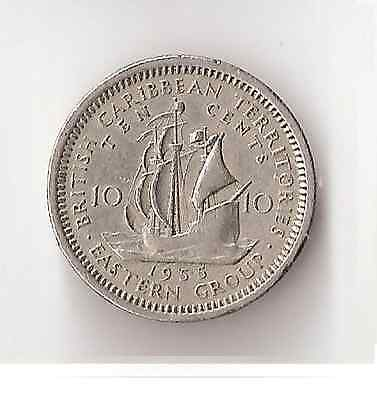 1955 British Caribbean Territories 10 Cents Coin Eastern Group Queen Elizabeth