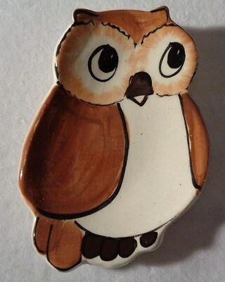 Vintage Owl Spoon Rest Owl Dish Hand Painted Souvenir Owl Signed Calico