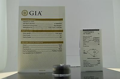 0.42ct Oval Brilliant H Color, SI2 Clarity, GIA Certified Loose Diamond
